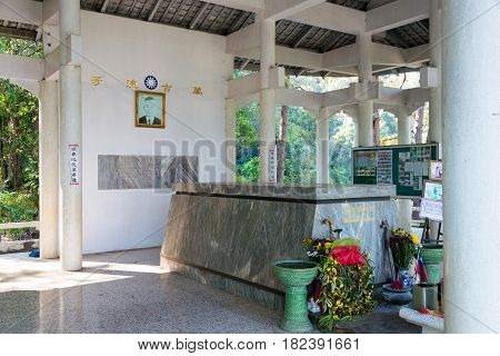 Chiang Rai, Thailand. - Feb 27 2015: Tomb Of General Tuan. A Famous Historical Site At Doi Mae Salon