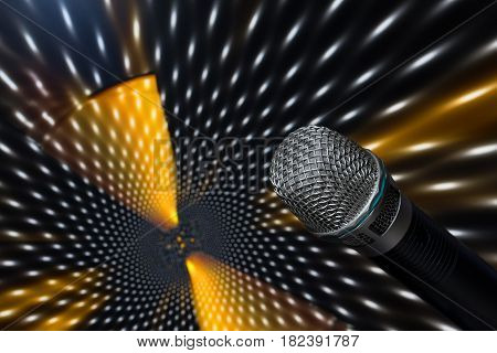 Microphone closeup on an abstract colored background