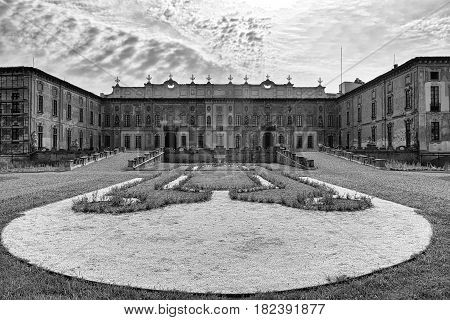 Castellazzo di Bollate (Milan Lombardy Italy): Villa Arconati historic palace built in the 17h century. Exterior with garden at summer. Black and white