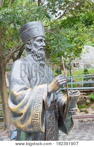 Macau - Dec 13 2015: Matteo Ricci's Statue In Historic Centre Of Macau. A Famous Historic Sites In M