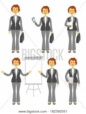 Female manager or business woman character set. Different poses isolated on white background. Woman in trousers. Cartoon flat style illustration