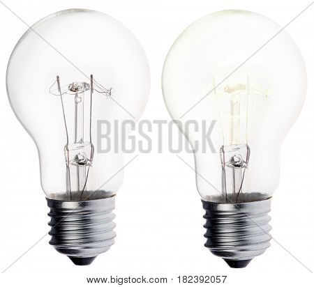 incandescent electric lamp isolated on white background