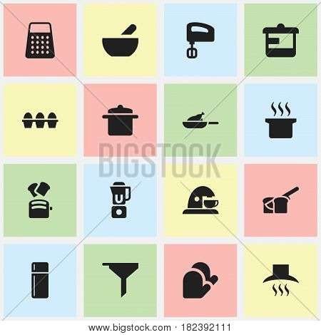 Set Of 16 Editable Meal Icons. Includes Symbols Such As Soup, Hand Mixer, Agitator. Can Be Used For Web, Mobile, UI And Infographic Design.