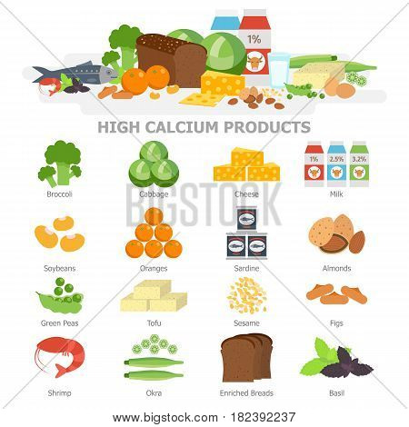 High calcium food infographic elements flat vector illustration, banner. The products with calcium icon set, vegetables, milk, soy, seafood. Healthy diet