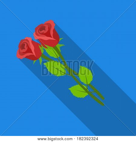 Two roses icon in flat design isolated on white background. Funeral ceremony symbol stock vector illustration.
