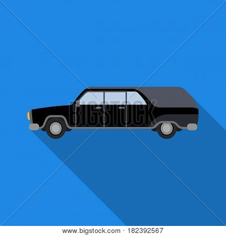 Hearse icon in flat design isolated on white background. Funeral ceremony symbol stock vector illustration.