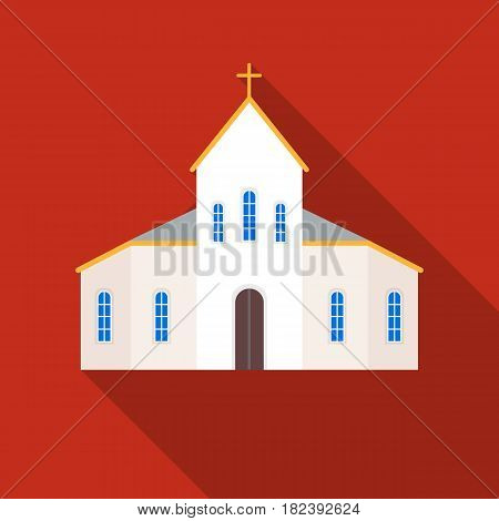 Church icon in flat design isolated on white background. Funeral ceremony symbol stock vector illustration.