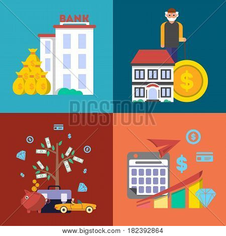 Investment in old age banner set vector illustration. Presentation of retirement money plan, financial growing, finance and banking, strategic management of pension finance, life to retire concept