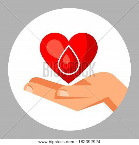 Donate blood. Medical and healthcare concept with heart and hand.