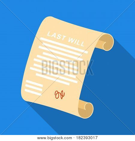 Last will icon in flat design isolated on white background. Funeral ceremony symbol stock vector illustration.