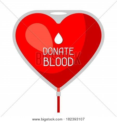 Donate blood. Medical and healthcare concept bag in shape of heart.