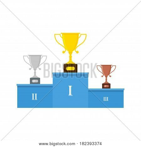 Winners podium or pedestal with gold, silver and bronze trophy cups. Vector illustration in flat style. Isolated on white background.