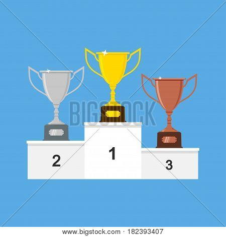 Winners podium with gold, silver and bronze trophy cups or awards. Vector illustration.
