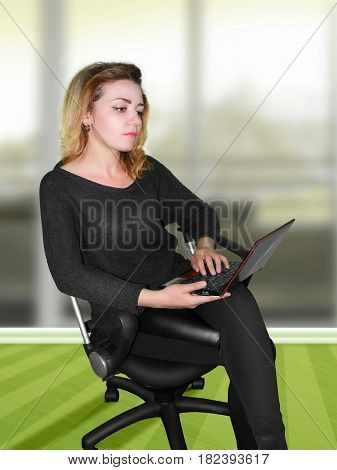 photography with scene of the girl on chair with computer