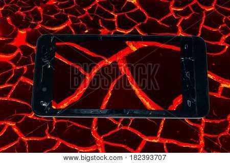 texture of molten lava in Phone broken concept idea. on white background