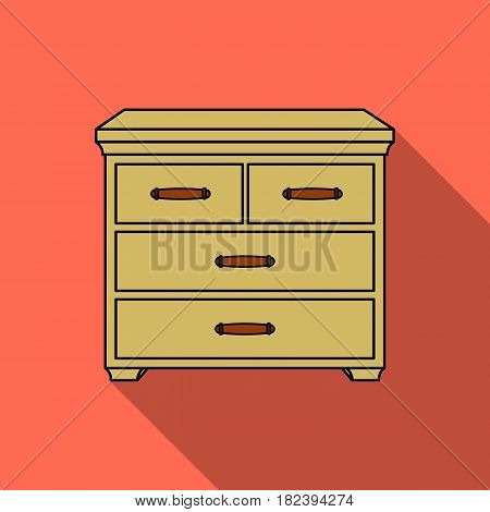 Wooden cabinet with drawers icon in flat style isolated on white background. Furniture and home interior symbol vector illustration.