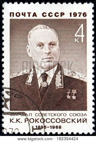 UKRAINE - CIRCA 2017: A postage stamp printed in USSR shows Marshal of the Soviet Union K.K.Rokosovsky 1896-1968 from the series Soviet Military Commanders circa 1976