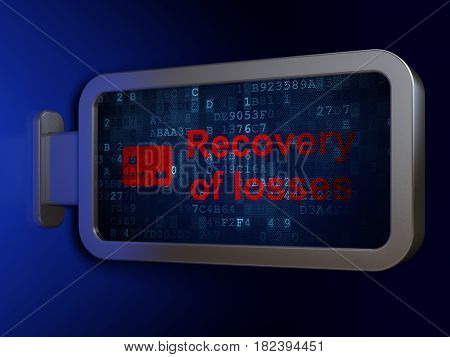 Banking concept: Recovery Of losses and Credit Card on advertising billboard background, 3D rendering