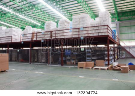 interior of warehouse.Blur Picture commercial, container, factory