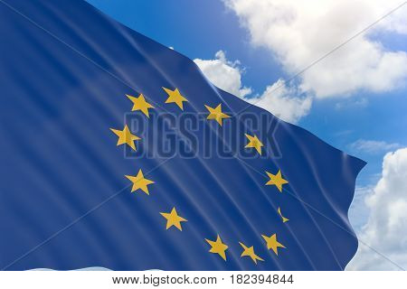 3D Rendering Of European Union Flag Waving On Blue Sky