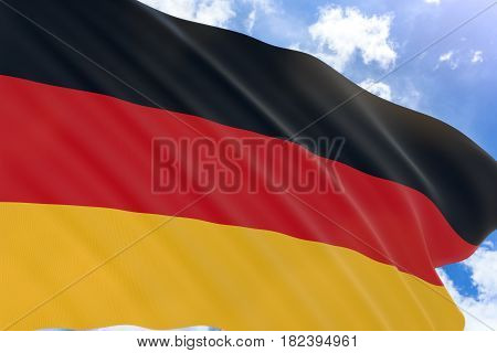 3D Rendering Of Germany Flag Waving On Blue Sky Background