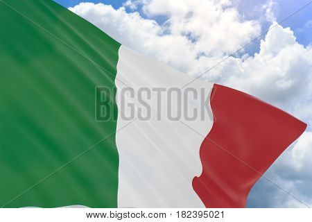3D Rendering Of Italy Flag Waving On Blue Sky Background