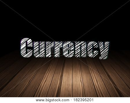 Currency concept: Glowing text Currency in grunge dark room with Wooden Floor, black background