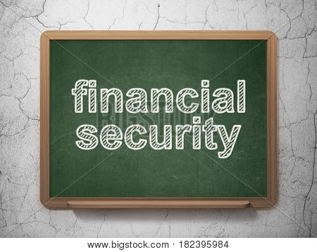 Security concept: text Financial Security on Green chalkboard on grunge wall background, 3D rendering