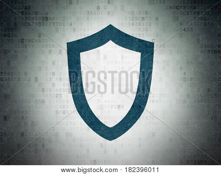 Privacy concept: Painted blue Contoured Shield icon on Digital Data Paper background