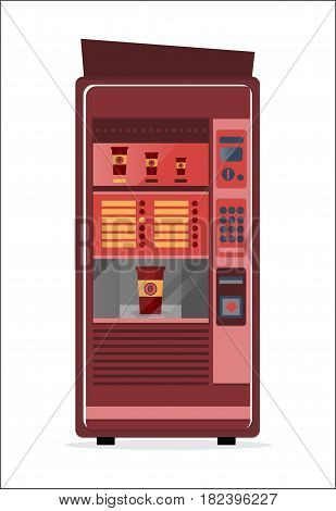 Coffee vending machine icon isolated vector illustration. Automatic seller front view with empty shelves in flat design