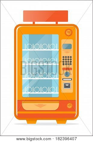 Vending machine with empty shelves icon isolated vector illustration. Cold drink, snack, chips, fast food, coffee or ice cream automatic seller in flat design