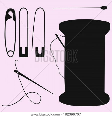 needle, pin, reel with thread and needle silhouette