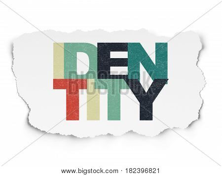 Privacy concept: Painted multicolor text Identity on Torn Paper background
