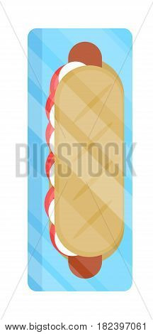 Packaged hot dog icon vector illustration isolated on white background. Cafe or restaurant fast food snack, vending machine menu pictogram in flat design