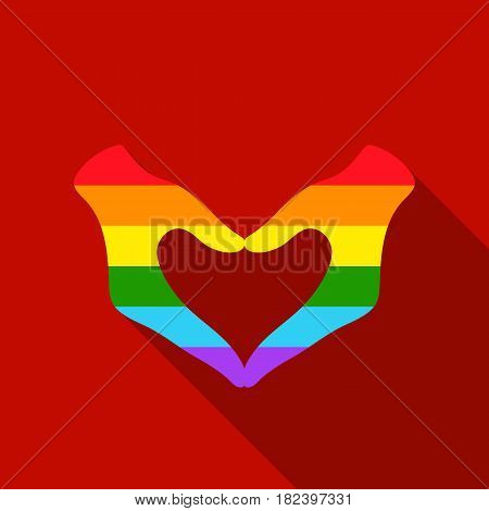 Hands icon flat. Single gay icon from the big minority, homosexual flat stock vector