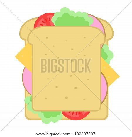 Homemade sandwich icon vector illustration isolated on white background. Cafe or restaurant fast food snack, top view eating menu pictogram.