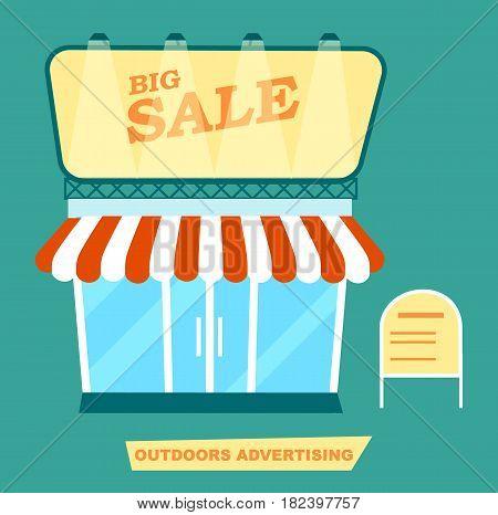 Outdoor advertising market signpost vector illustration. Urban advertisement, city billboard, blank light board for message in flat design.