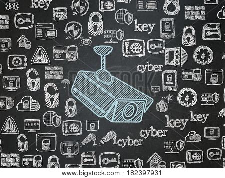 Security concept: Chalk Blue Cctv Camera icon on School board background with  Hand Drawn Security Icons, School Board