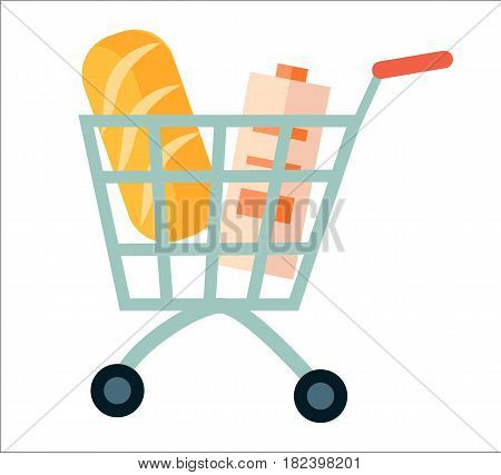 Shopping cart with product icon isolated vector illustration. Self service supermarket, shopping trolley cart in flat design