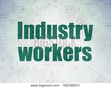Industry concept: Painted green word Industry Workers on Digital Data Paper background
