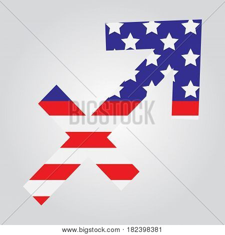 Usa Flag In Form Of Sagittarius Zodiac Sign