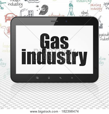 Industry concept: Tablet Computer with  black text Gas Industry on display,  Hand Drawn Industry Icons background, 3D rendering