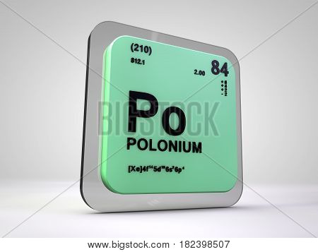 polonium - Po - chemical element periodic table 3d render