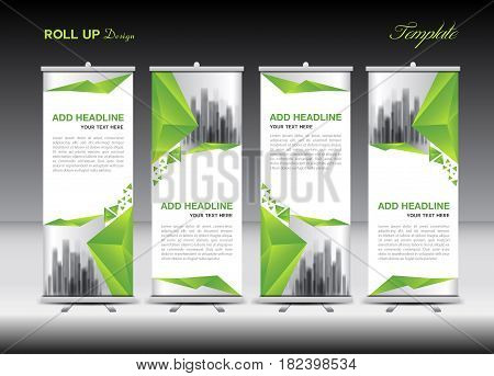 Green and white Roll Up Banner template design on polygon background Business flyer display vector banner layout advertisement j-flag pull up x-banner flag-banner abstract geometric stand
