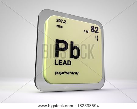 Lead - Pd - chemical element periodic table 3d render