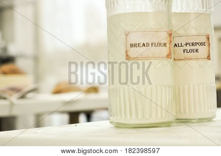 glass containers of flour in the kitchen