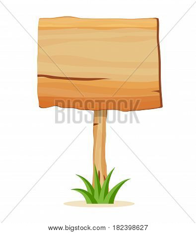 Wooden empty billboard icon isolated on white background vector illustration. Square shape wooden blank signpost in cartoon style