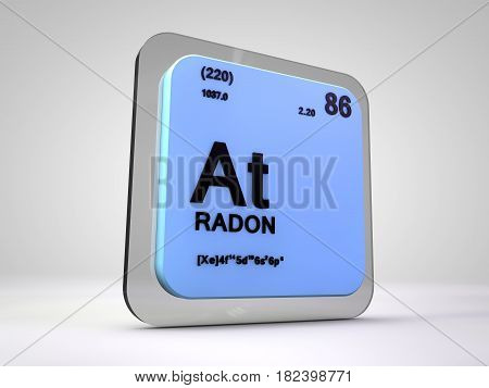 radon - At - chemical element periodic table 3d render
