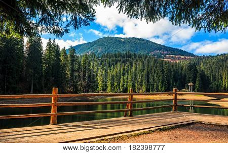 Wooden Pier On Mountain Lake In Synevir National Park
