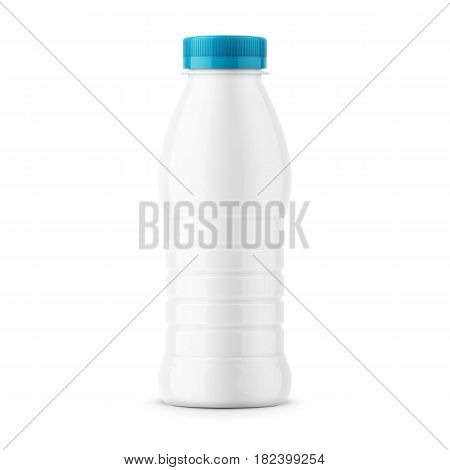 White glossy plastic bottle with screw cap for dairy products milk, drink yogurt, cream, dessert. 385 ml. Realistic packaging mockup template. Front view. Vector illustration.